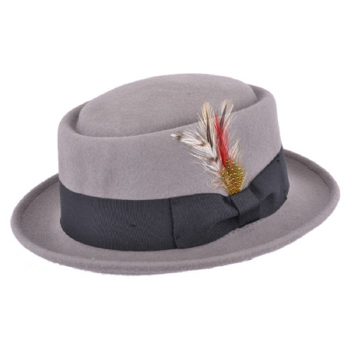 Grey Pork Pie Hat Wool Felt
